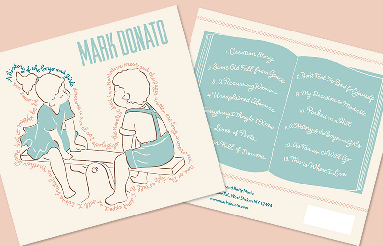 Illustration and monoline lettering for Mark Donato's CD, A History of the Boys and Girls. Design by Mark Lerner at Rag & Bone Shop.