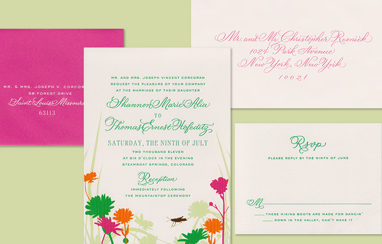 So playful and colorful! This suite by Cheree Berry Paper combines calligraphy and type beautifully. The calligraphy style is Flourished Copperplate. I love addressing envelopes in bright colored inks.
