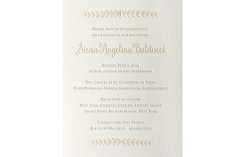 Sweet, simple and elegant for  Siena's baptism invitation. Designed by myself and printed letterpress on thick handmade paper. With matching envelopes.