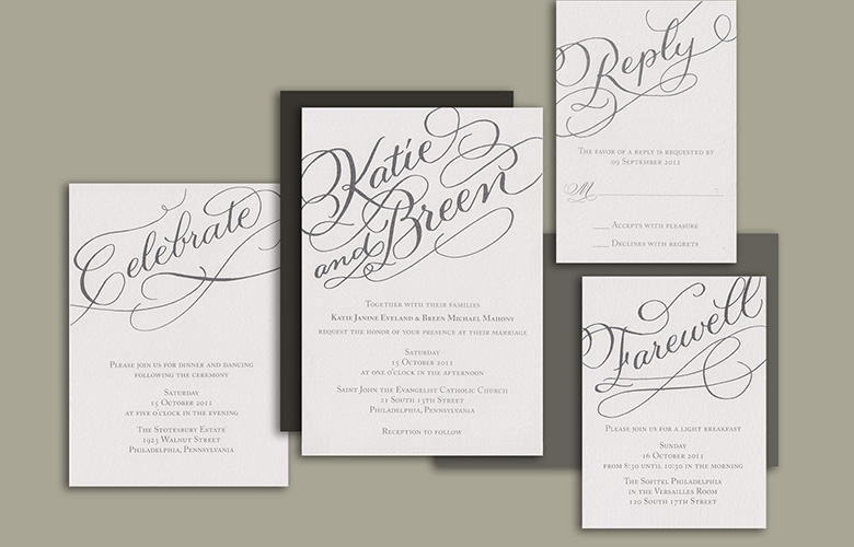 Katie and Breen's bold calligraphy diagonally placed on each piece of their suite is so striking and sets a design theme for the rest of the wedding.  Heavy gray vellum enclosed the suite and was then banded around the middle.