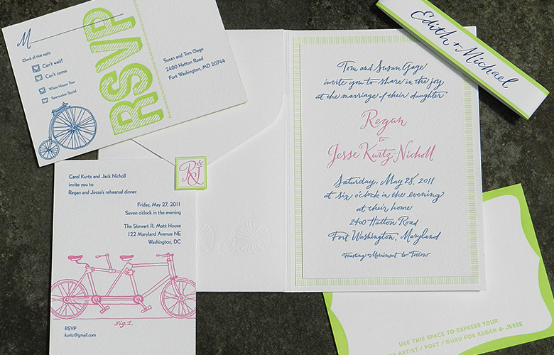 Modern, playful, and casual. That describes both this bicycle-themed suite and the couple! The calligraphy style is my own creation, Smith Street. Letterpress printed, the folio with pocket held a trifold map, rehearsal dinner invitation, and RSVP postcard. A personalized belly band surrounded the suite. Designed by Mark Lerner at Rag and Bone Shop and myself.