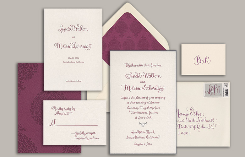 "I designed this wedding suite with Mark Lerner of Rag and Bone Shop. It features heavy duplexed stock, letterpress printing, beveling, edge painting, and custom stamps. My ""Winston"" style of calligraphy was used throughout the stationery and the reception. Congrats to Linda and Melissa!"