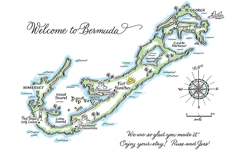 This Bermuda map was placed in gift bags in guests' hotel rooms. It gives a basic layout of the Island.