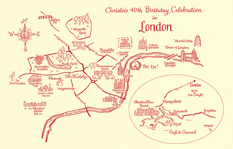 London map with inset of southern coast. I insisted on adding Abbey Rd.